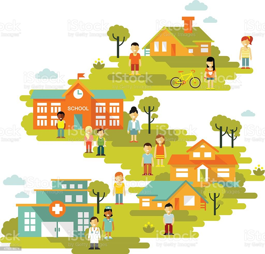 Town Landscape Vector Illustration: Small Town Urban Landscape Background In Flat Style Stock