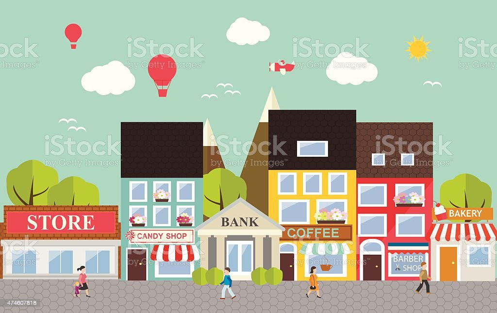 Small town urban landscape vector art illustration