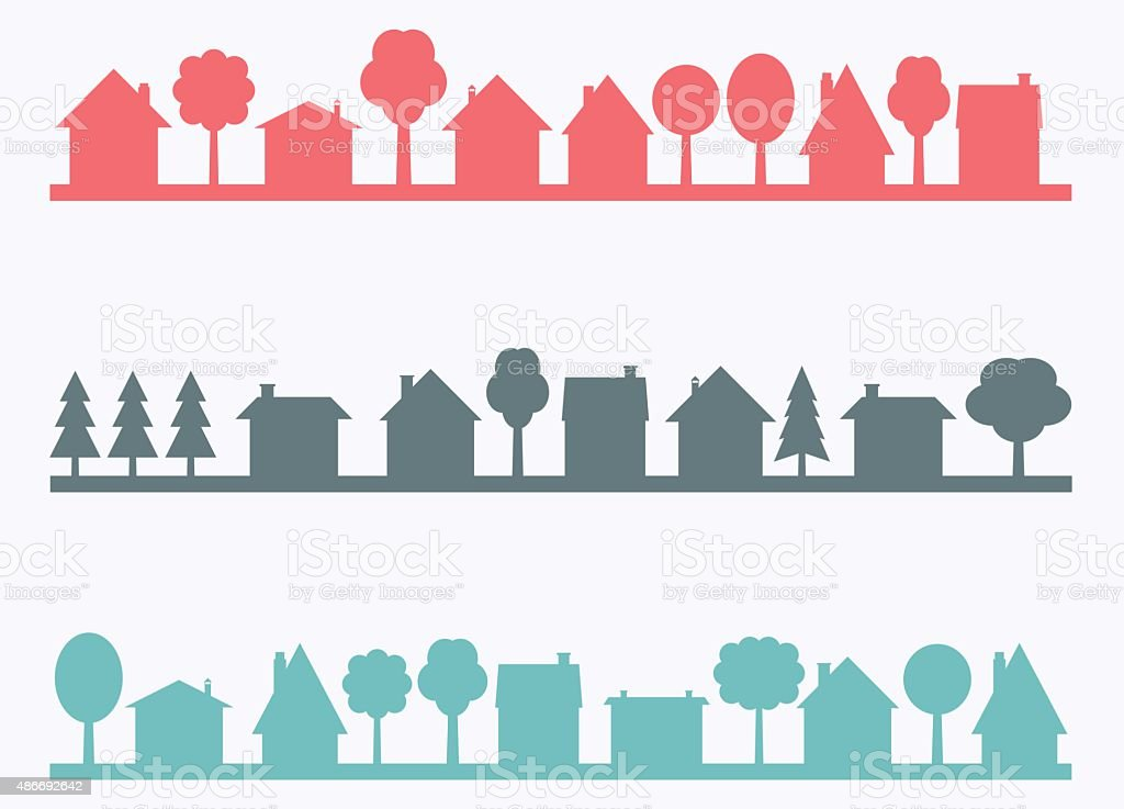 Small town vector art illustration