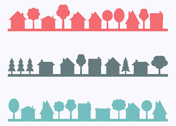 Small town Small town vector silhouettes with blank copy space. Village illustration. community silhouettes stock illustrations