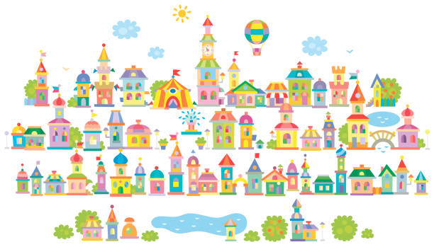 Small toy town Toy town with a lake, small colorful houses and trees dollhouse stock illustrations