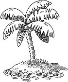 Hand-drawn vector drawing of a Small Tropical Island and a Palm Tree. Black-and-White sketch on a transparent background (.eps-file). Included files are EPS (v10) and Hi-Res JPG.