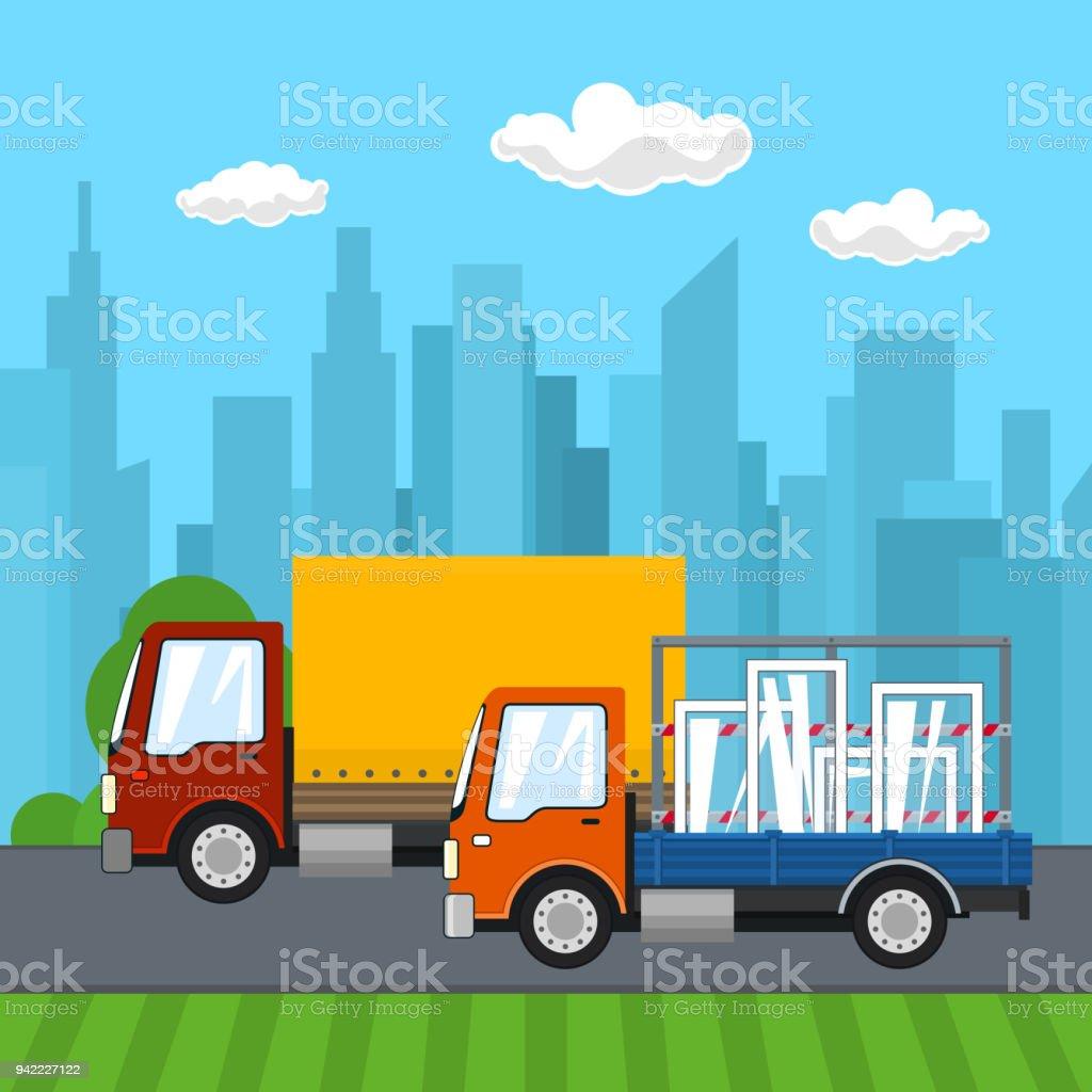 Small Trucks Drive on the Road vector art illustration