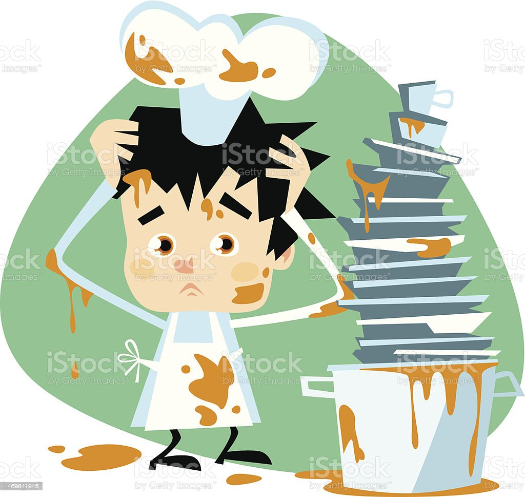 Small upset dirty Chef royalty-free stock vector art