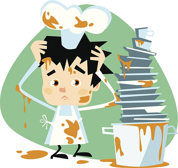 illustrazioni stock, clip art, cartoni animati e icone di tendenza di piccolo chef mal di sporco - chef triste