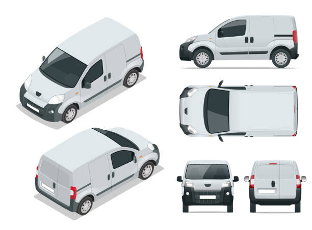 Small Van Car. Isolated car, template for car branding and advertising. Front, rear , side, top and isometry front and back. Change the color in one click. All elements in groups on separate layers. Small Van car. Isolated car, template for car branding and advertising. Front, rear , side, top and isometry front and back. Change the color in one click. All elements in groups on separate layers van vehicle stock illustrations