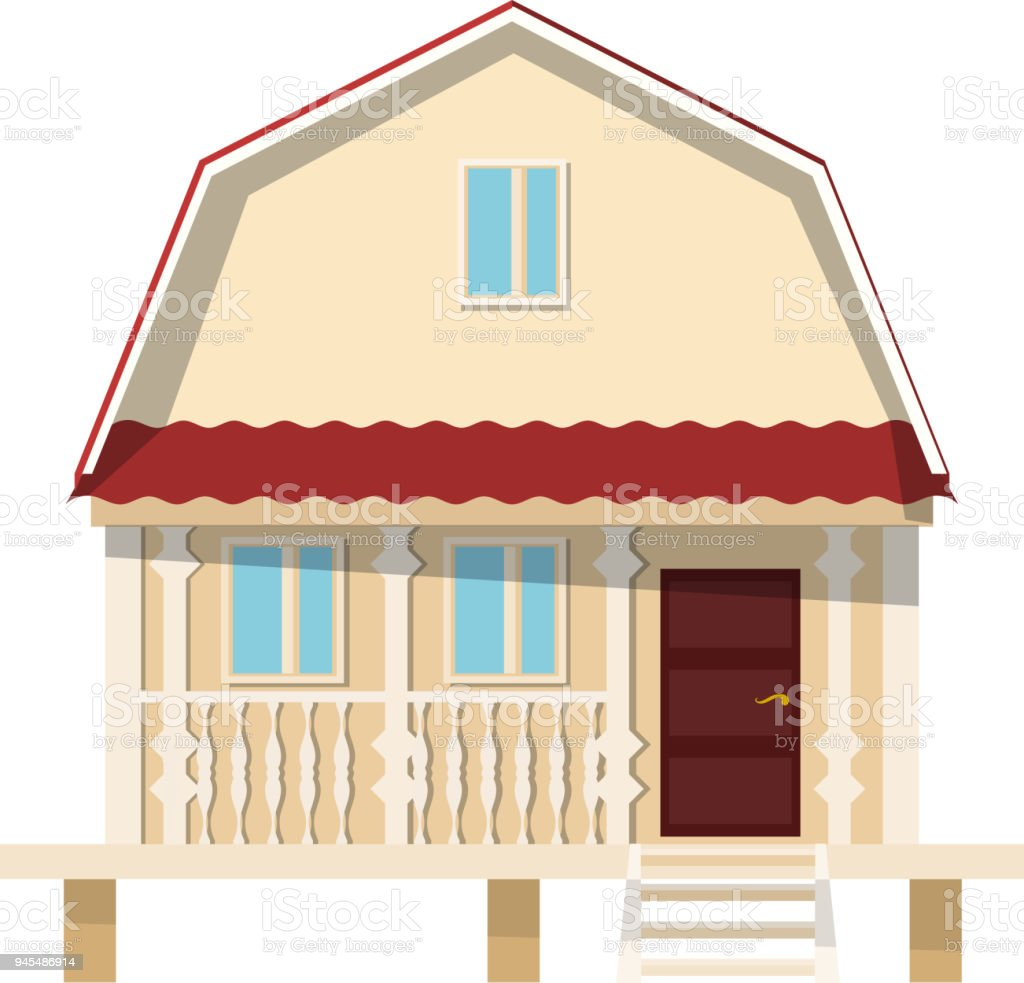 Amüsant Haus Auf Stelzen Sammlung Von Kleines Weißem Hintergrund. Die Flachen Stil. Farbe-vektor-