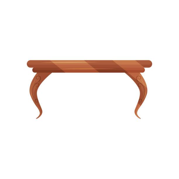 ilustrações de stock, clip art, desenhos animados e ícones de small vintage coffee table for living room. classic wooden furniture. object for home interior. flat vector design - coffee table