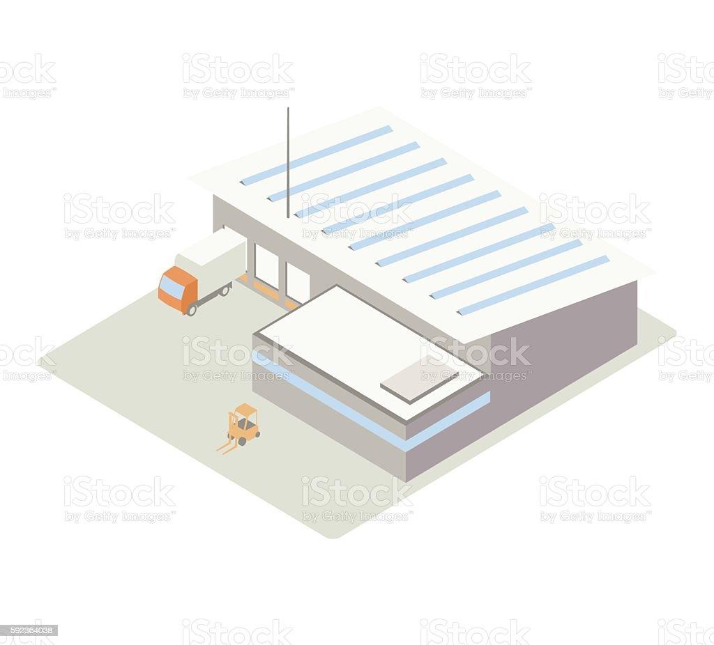 Small warehouse isometric illustration vector art illustration