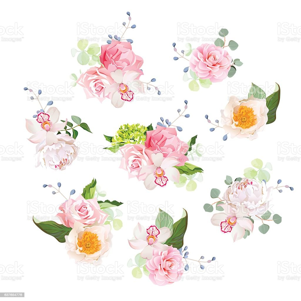 Small Wedding Bouquets Of Rose Peony Camellia Orchid Hydrangea ...