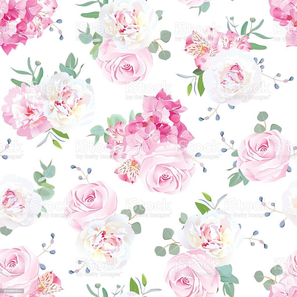 Small wedding bouquets vector seamless print - ilustración de arte vectorial