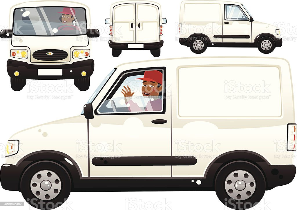 Small white delivery van and driver vector art illustration