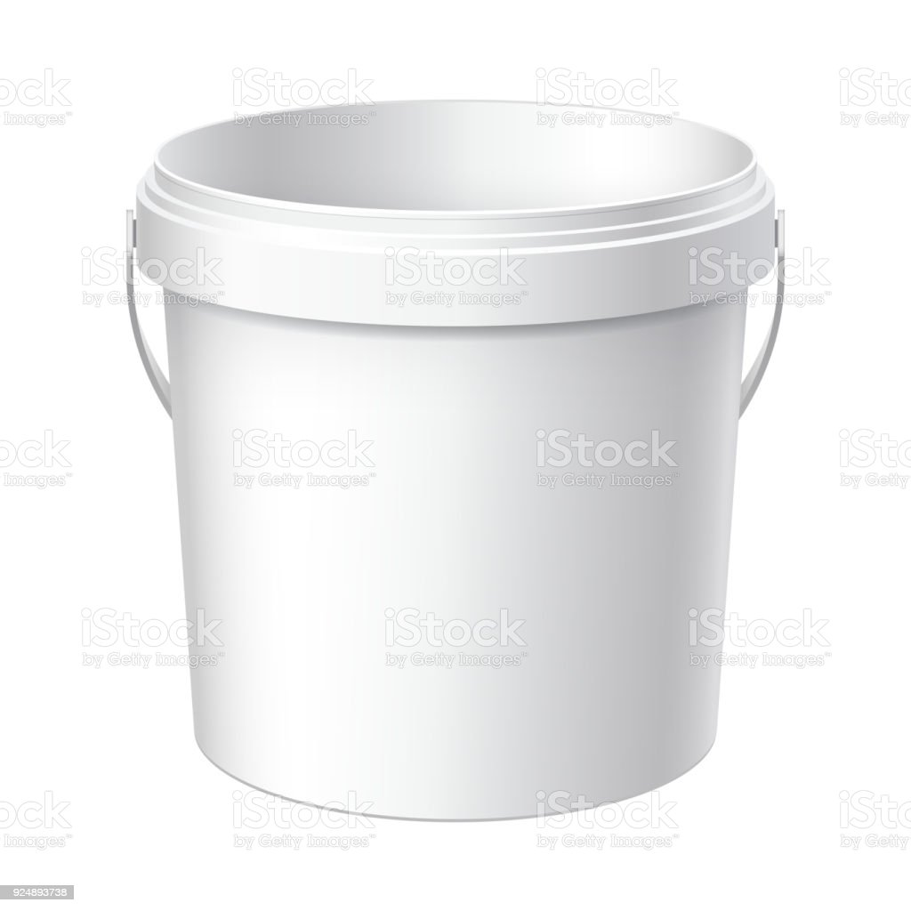 Small White plastic bucket. vector art illustration