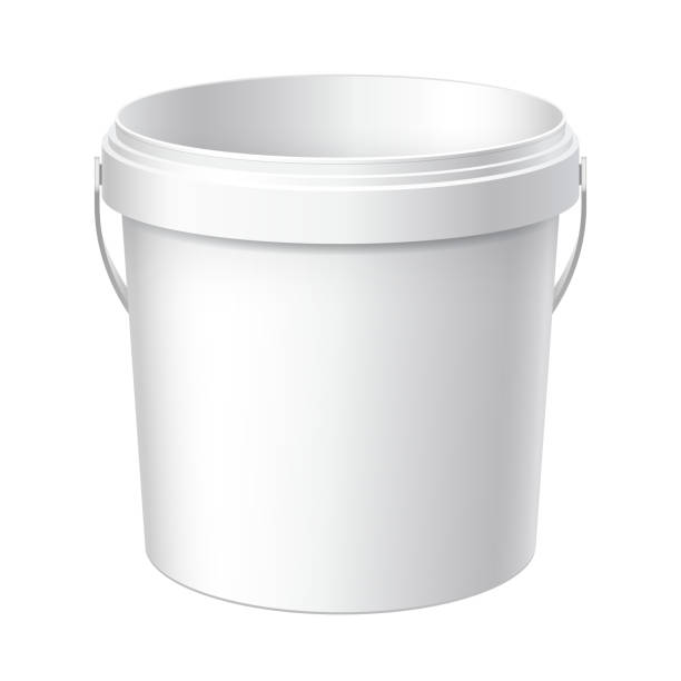 Small White plastic bucket. vector art illustration
