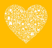 Small white vector icons in a heart on a yellow background.