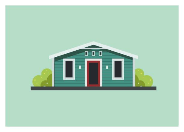 small wooden home building simple illustration - маленький stock illustrations