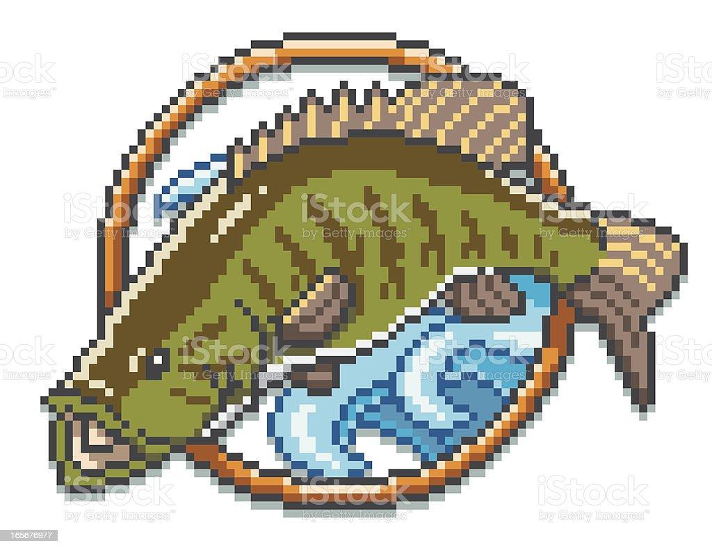 Smallmouth Bass - Pixel Art Style vector art illustration