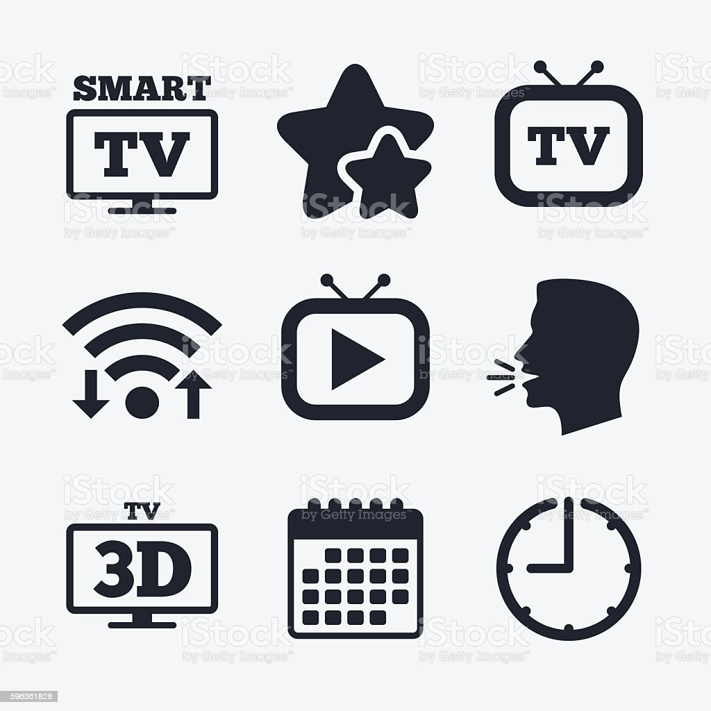Smart 3D TV mode icon. Retro television symbol. royalty-free smart 3d tv mode icon retro television symbol stock vector art & more images of badge