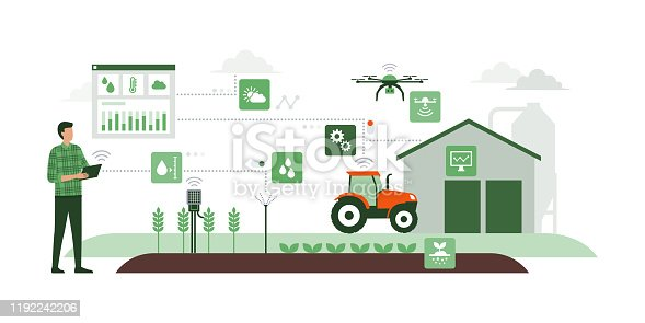 istock Smart agriculture and IOT 1192242206