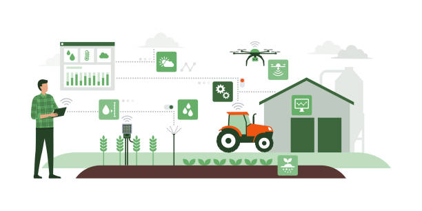 Smart agriculture and IOT vector art illustration