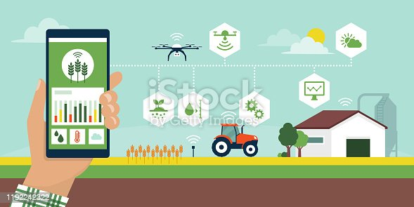 istock Smart agriculture app 1192242322