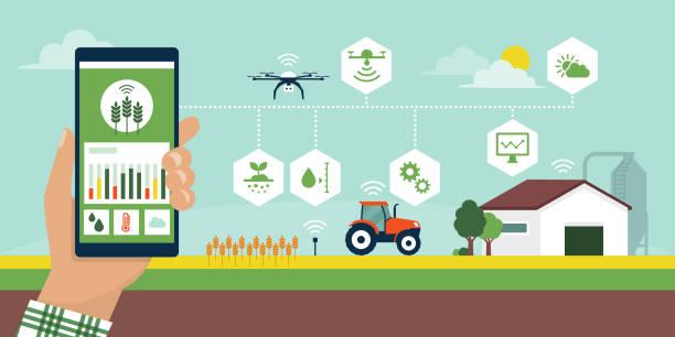bildbanksillustrationer, clip art samt tecknat material och ikoner med smart jordbruk app - odla