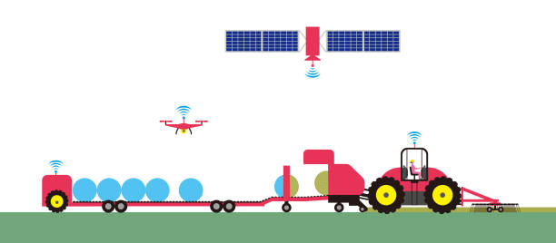 スマート農業であります。農用トラクターの自動 - リモート点のイラスト素材/クリップアート素材/マンガ素材/アイコン素材