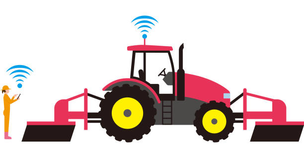 Smart agriculture. Automated agricultural tractor vector art illustration
