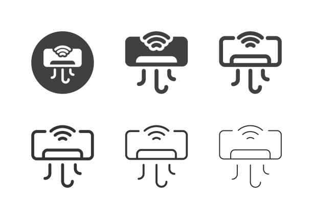 Smart Air Conditioner Icons - Multi Series vector art illustration