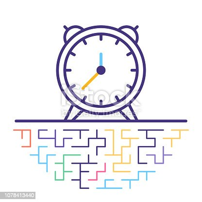 Line vector icon illustration of smart alarm clock with maze like background.