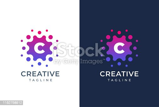 Smart and creative, dots or points letter C logo design template. Geometric dot circle science medicine sign. Universal energy tech planet star atom vector icon.