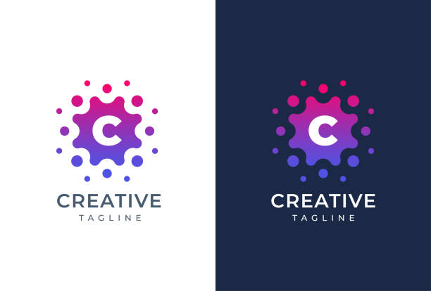 Smart and creative, dots or points letter C logo design template. Geometric dot circle science medicine sign. Universal energy tech planet star atom vector icon. Smart and creative, dots or points letter C logo design template. Geometric dot circle science medicine sign. Universal energy tech planet star atom vector icon. alphabet patterns stock illustrations
