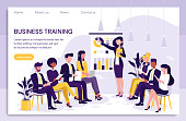 Smart and Young businesswoman giving a presentation to colleagues during in house business training pointing to charts and statistics in a Modern Flat Vector illustration