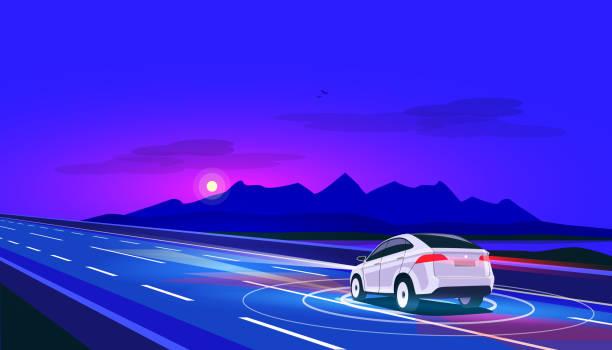 ilustraciones, imágenes clip art, dibujos animados e iconos de stock de coche eléctrico sin conductor autónoma inteligente conduce en carretera de noche con paisaje de montaña - vehículos sin conductor
