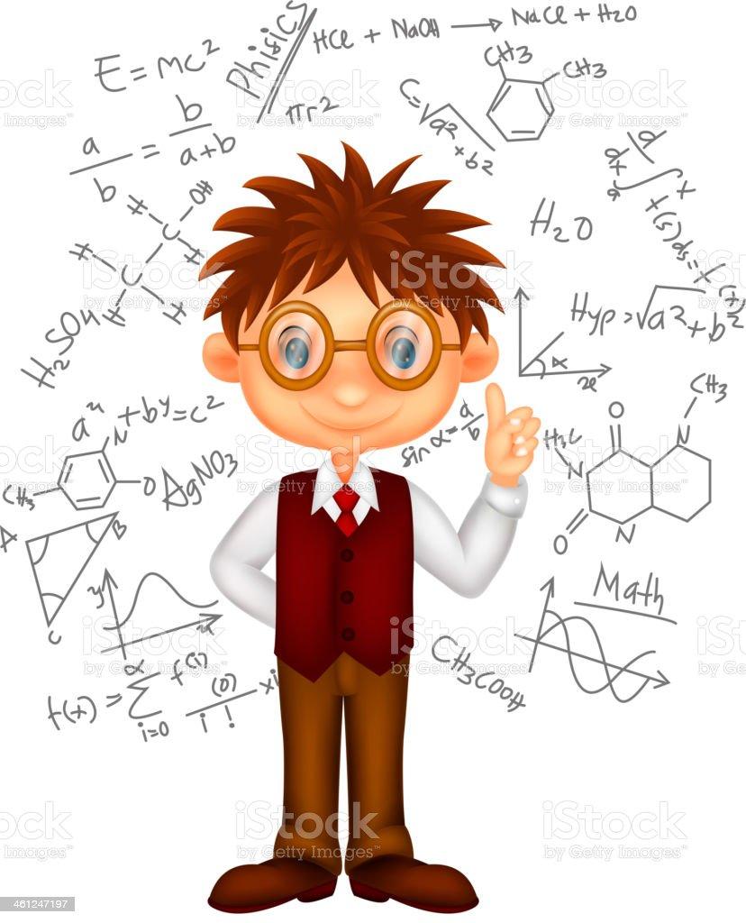 Smart boy cartoon illustration