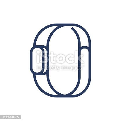 Smart bracelet thin line icon. Watch, clock, wristwatch isolated outline sign. Digital devices and electronic gadgets concept. Vector illustration symbol element for web design and apps