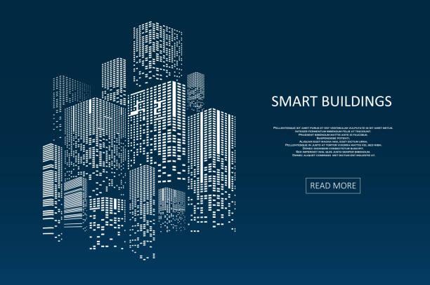 illustrazioni stock, clip art, cartoni animati e icone di tendenza di design di concetto di edificio intelligente - costruire