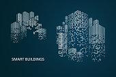 Smart building concept design for city illustration. Graphic concept for your design.