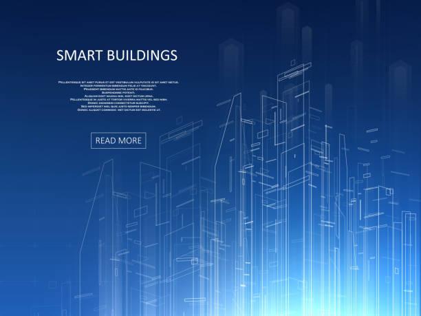 Smart building concept design vector art illustration
