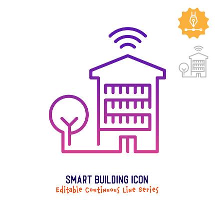 Smart Building Continuous Line Editable Stroke Line