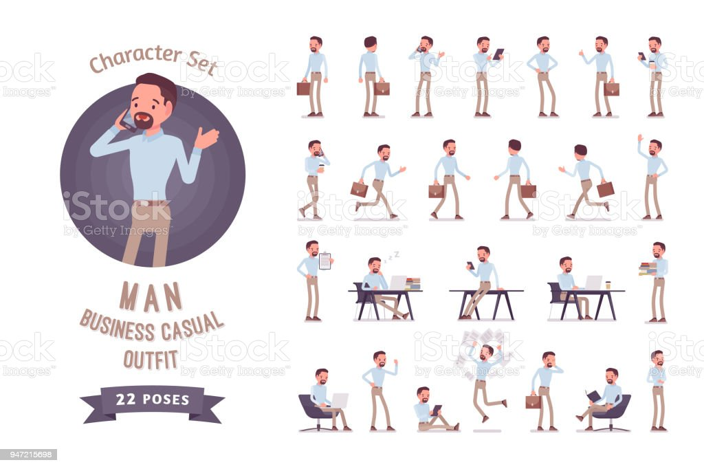 Smart business casual man ready-to-use character set - Royalty-free Adult stock vector