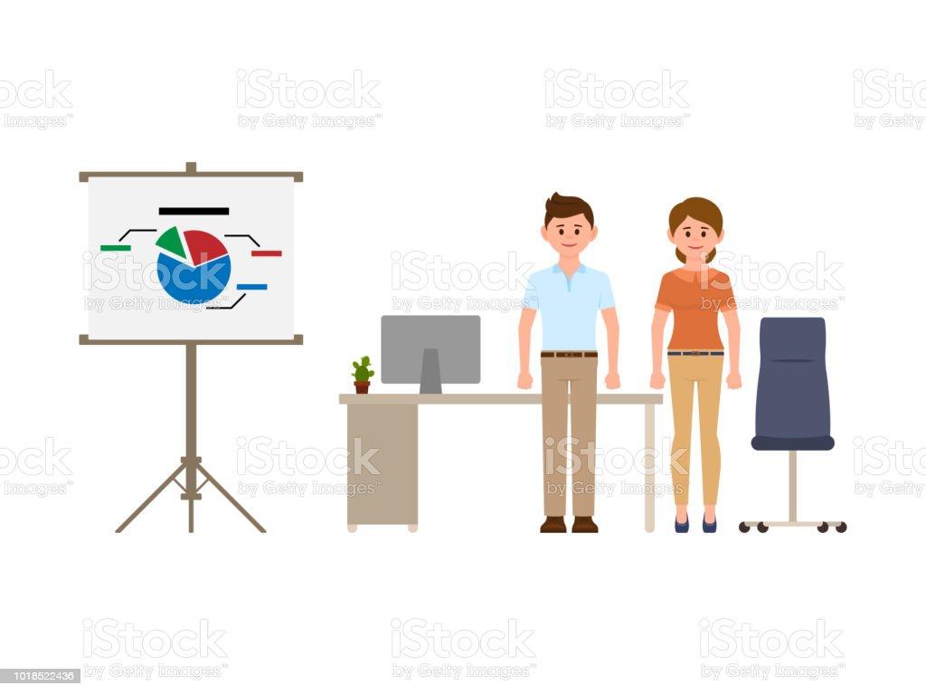 Pleasing Smart Business Man And Woman Standing Near Office Desk Flip Creativecarmelina Interior Chair Design Creativecarmelinacom