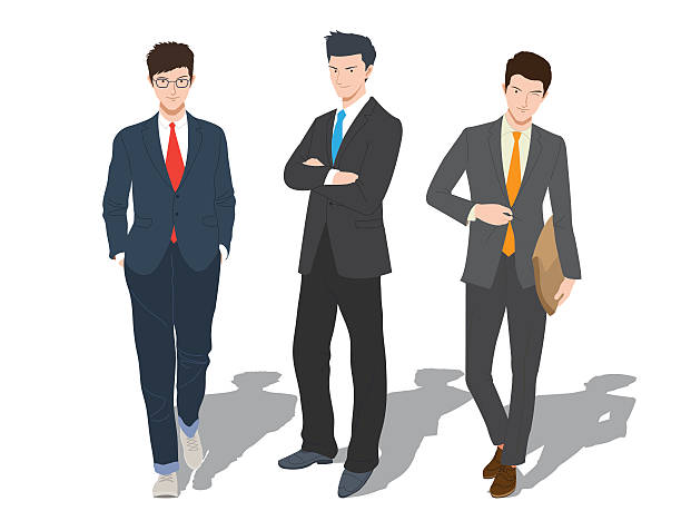 Professional Man Vector Character Set With Actions In Laptop