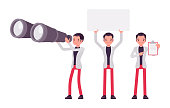 Smart businessman, business manager with giant binoculars, blank banner, clipboard. Office worker professional look, casual attire. Vector flat style cartoon illustration isolated on white background