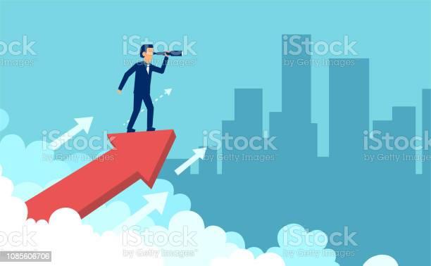 Smart Businessman Looking Forward In Spyglass - Arte vetorial de stock e mais imagens de Adulto