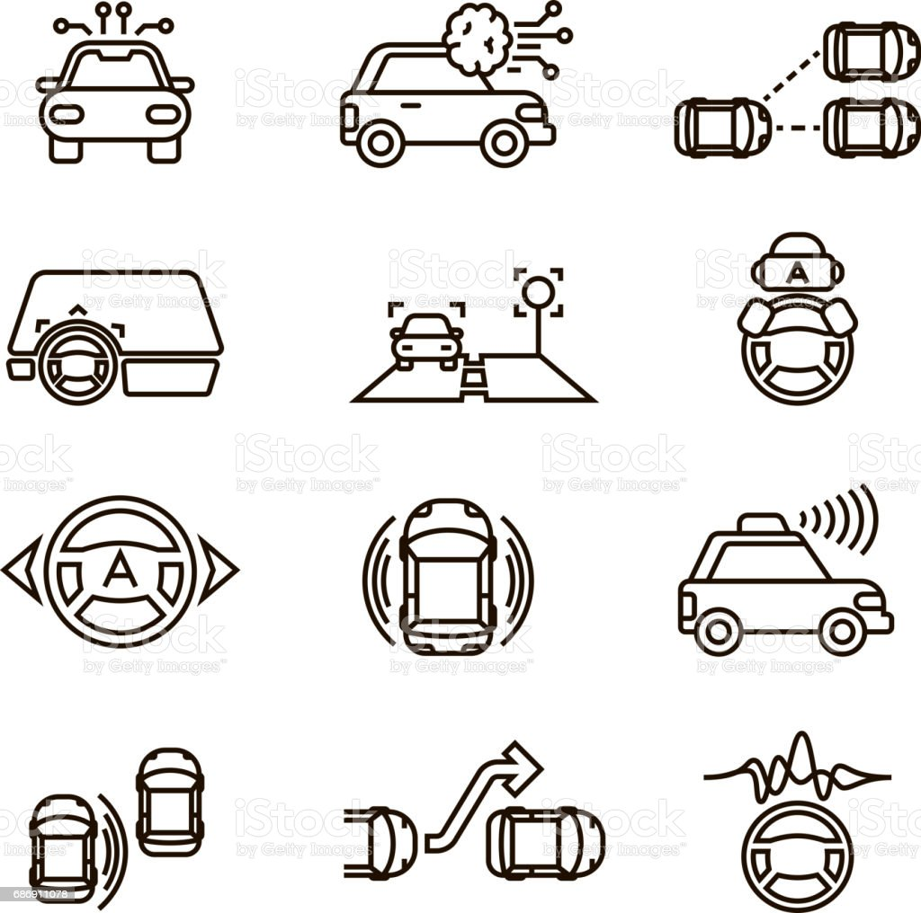 Smart car and hands free driving automatic system vector line icons vector art illustration