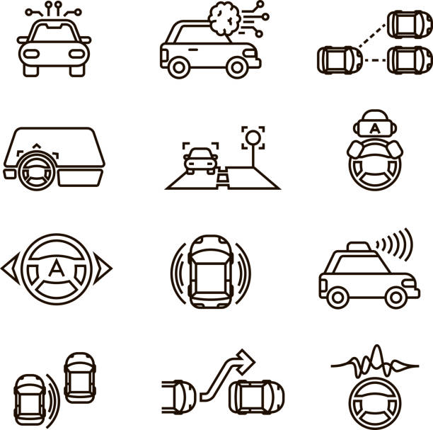smart car and hands free driving automatic system vector line icons - self driving cars stock illustrations, clip art, cartoons, & icons