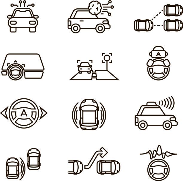 スマートな車とハンズフリー自動システム ベクトル線アイコンを運転 - 自動運転車点のイラスト素材/クリップアート素材/マンガ素材/アイコン素材