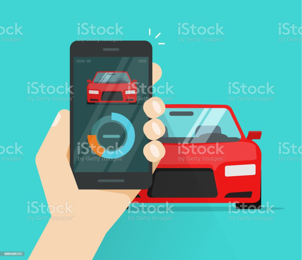 Smart car and smartphone dashboard system data vector illustration, flat cartoon mobile phone with auto diagnostic app, cellphone connected to automobile control technology vector art illustration