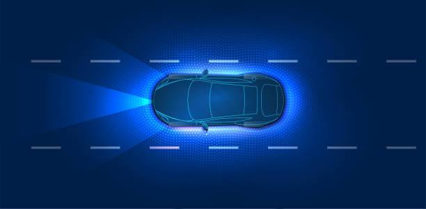 聰明的車自主智慧汽車掃描道路。城市道路上自主自駕游模式車輛的概念與圖形感應器雷達信號系統。未來主義概念, 背景的頂視圖。hud - 獨立 幅插畫檔、美工圖案、卡通及圖標